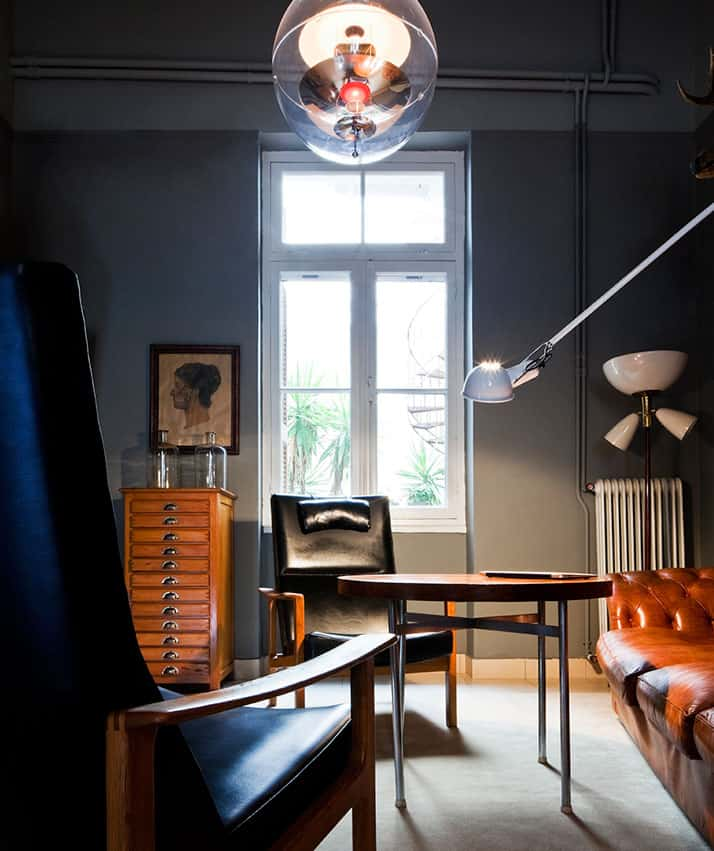 vintage industrial furniture and designer vintage interior by Alketas Pazis: vintage leather armchair, vintage industrial table and lamps, retro leather couch.
