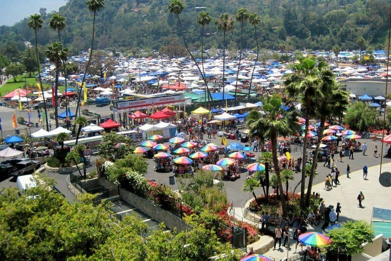 Best Flea Markets in LA: View of Rose Bowl flea market