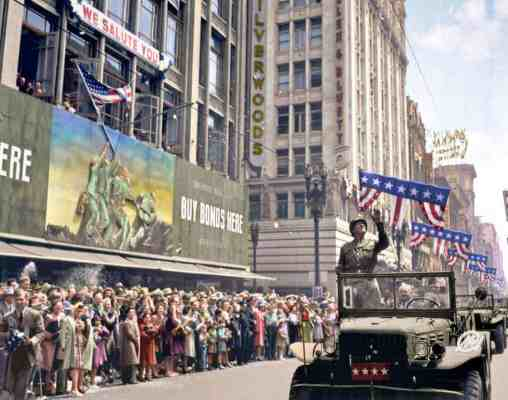 Colorized image: General George S. Patton Acknowledging The Cheers Of The Welcoming Crowds In Los Angeles, CA, During His Visit On June 9, 1945. © Marina Amaral