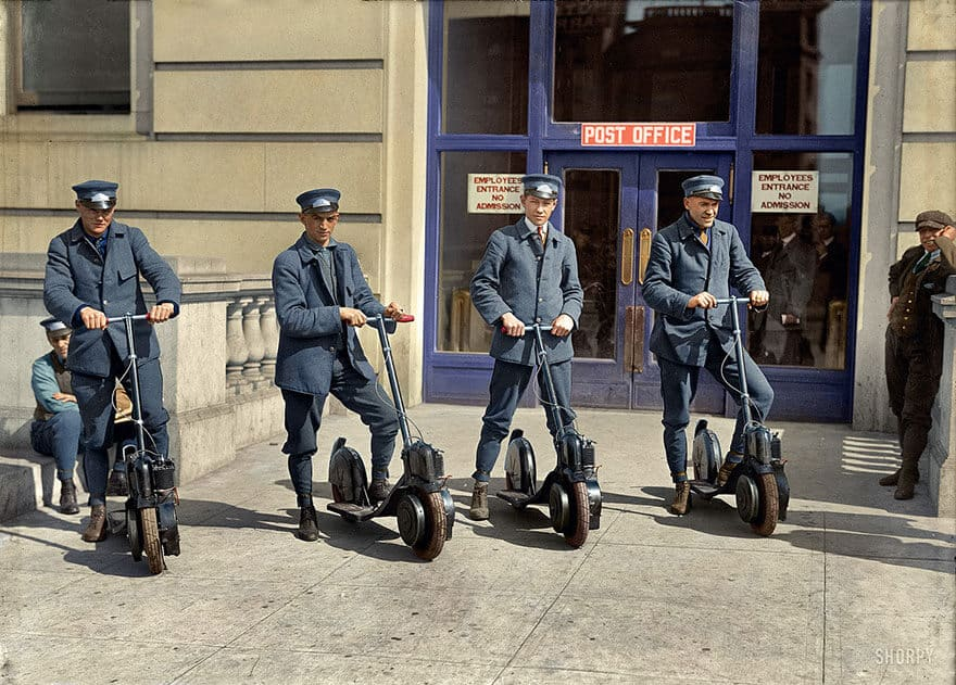 "Post officers show off their brand new ""Autopeds"" scooters Washington D.C. 1917"