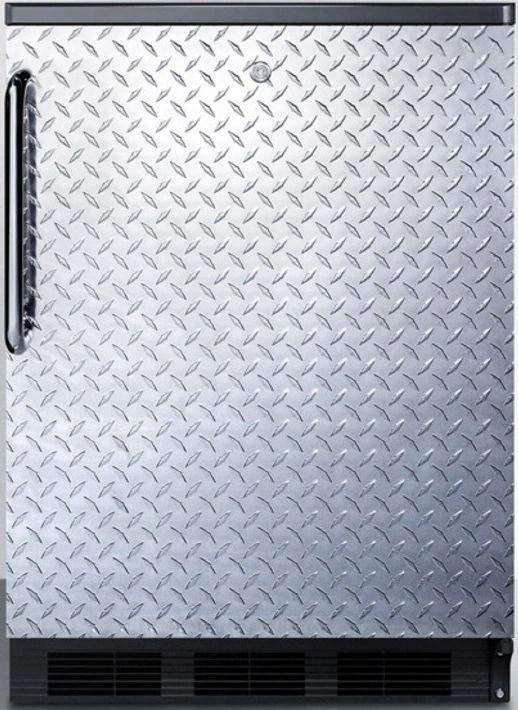 Summit 55 Cu Ft Diamond Plate Built In Under The Counter Compact RefrigeratorFF7LBLBIDPL