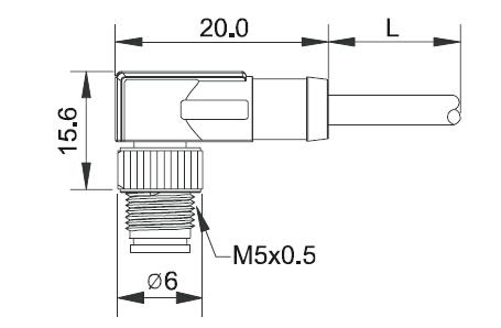 3 PIN 4 PIN Right Angle M5 Waterproof Connector Plug