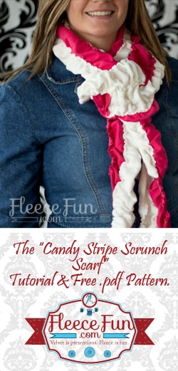I love this fun mixture of jersey and minky for a fun and festive scarf.  Easy sewing tutorial! Great DIY Idea.