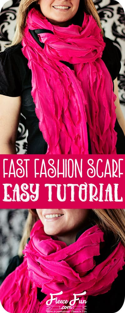 Wow this scarf is so easy to make - you can sew it in under a half hour.  This tutorial looks very straight forward.  Love this idea.