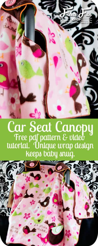 I love how this pattern wraps around the outside to keep it from hanging on the baby. Looks perfect for cold weather. Plus there's a video tutorial to walk you through how to make it! Great sewing DIY idea. Love this sewing project for babies #sewingproject #carseatcover #sewingprojectforbabies