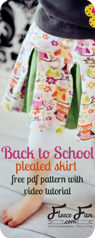 I love this free skirt pattern and tutorial, This Easy Girls Pleated Skirt DIY in 6 Steps (Free Pattern) is the perfect sewing project for back to school.  Love how you can make is out of fleece or jersey knit.  Learn how to sew a pleated skirt.