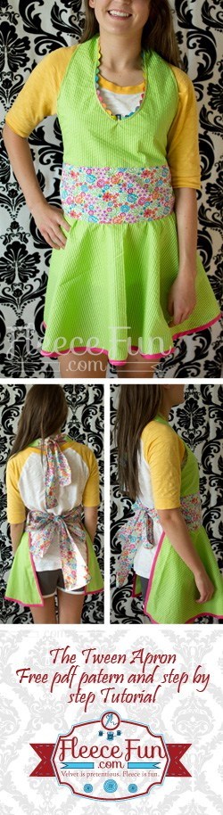 You can make a cute apron with this free pdf pattern and tutorial courtesy of www.fleecefun.com