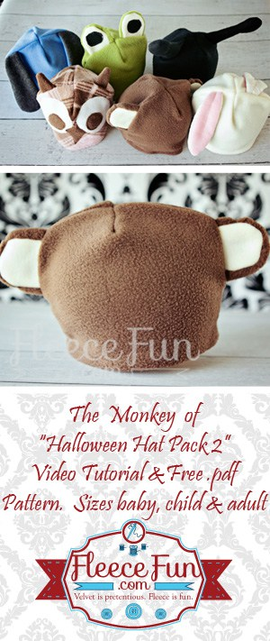 I love this easy to make monkey hat  DIY.  Love how there is a free sewing pattern.