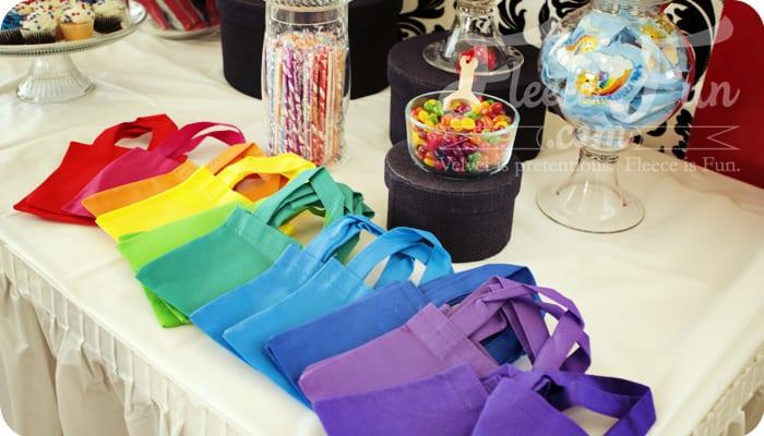 rainbow party decor tips bags