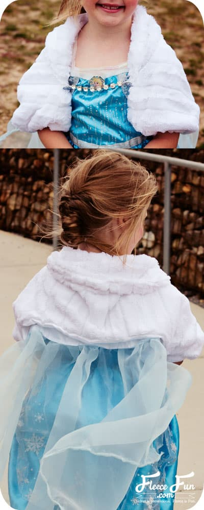 I love this cure Frozen inspired Elsa cape.  it's a jacket and cap fit for a queen.  The cold might not have bothered Elsa, but it might bother my little one while trick or treating and this is perfect.  Love this sewing costume DIY with free pattern.