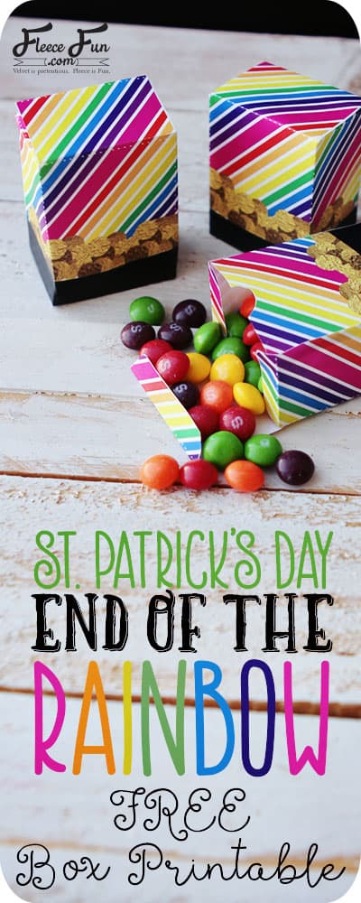 I love these free St. Patrick's day box printables.  They are a great diy idea for class parties or little gifts for kids.  Love the rainbow colors.