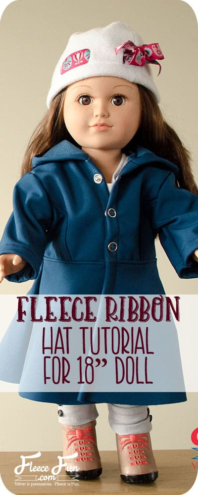 I love this 18 inch doll fleece hat free pattern and tutorial.  I love this sewing tutorial and it's perfect for my little ones American Girl doll.
