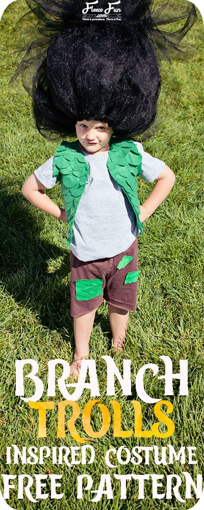 This Branch Costume Trolls DIY is perfect for Halloween or dress up.  Love how there is a free pattern in multiple sizes and perfect sewing project for beginners.  This costume DIY is fast to put together!