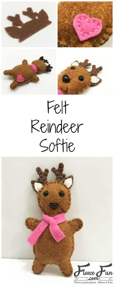 I love this felt Reindeer Softie tutorial. Such a cute sewing project for the holidays.  Perfect Christmas sewing pattern - that's free!