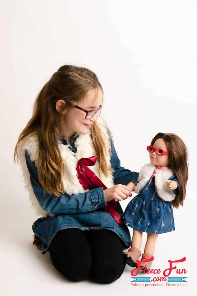 """This Fur Vest for 18"""" Doll Free Pattern tutorial is perfect for your American Girl Doll. This sewing project is a perfect handmade gift ideas for girls."""