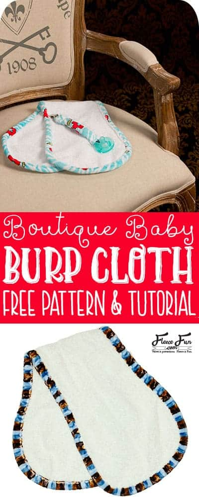 I love this boutique burp cloth pattern and video tutorial.  There's a free sewing pattern to download.  Great sewing project for babies. Great sewing DIY idea for babies.