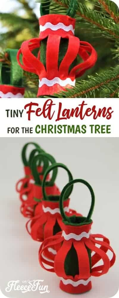 This Felt Lanterns Handmade Christmas Ornament tutorial is easy to make and a wonderful addition to your tree. With straightforward instructions you'll be able to make this holiday decor easily. #handmadechristmasornaments #handmadegiftideas #sewingtutorial #sewingproject #holidaysewing