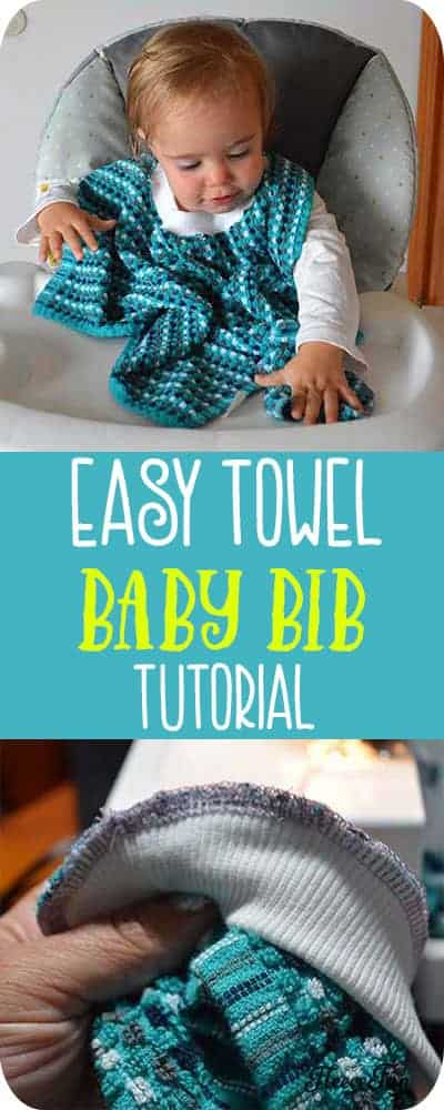 This Towel Bibs for Babies Bandana Style Ultimate DIY  shows you how quickly ( and cheaply) you can make adorable baby bibs that are cute and easily washable.  Perfect for keeping baby tidy, this soft bib is sure to be a favorite. Great sewing project. #babybibpatternsfree #babybibtutorial #sewingproject #beginersewingproject #babybibsdiy