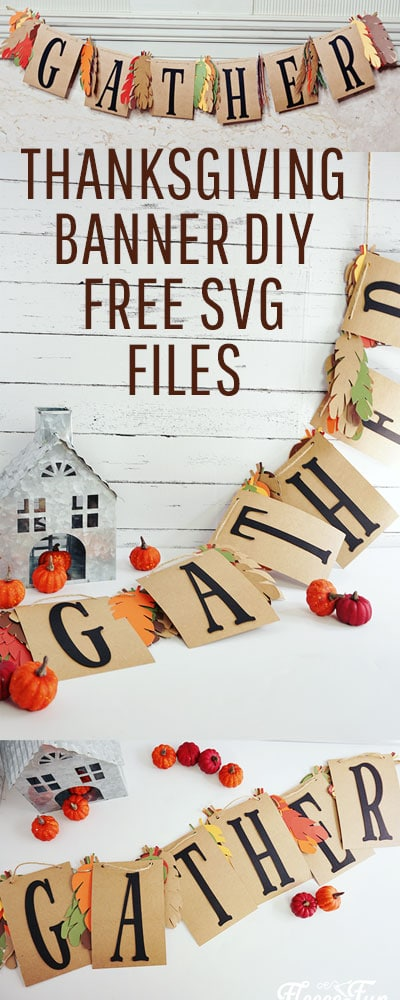 Thanksgiving project:  This lovely Gather Thanksgiving banner DIY is perfect for adding beauty to any Thanksgiving and fall decor.  With it's simple, but elegant design it is the perfect accompaniment to your festivities.  #thanksgiving #thanksgivingcrafts #thanksgivingdecorations #banner