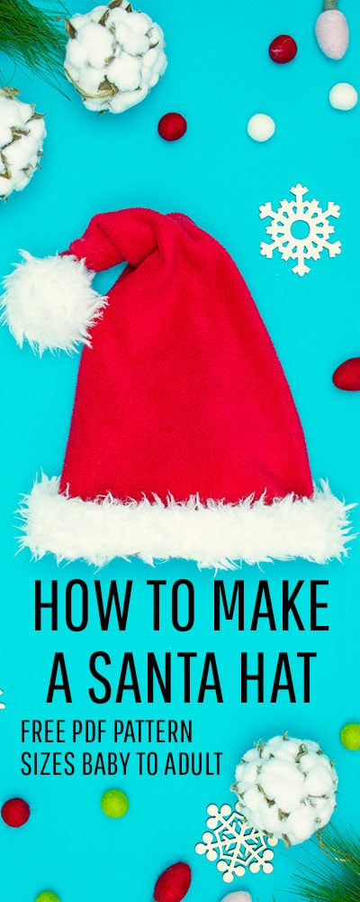 Easy Santa hat DIY with a free sewing pattern. Great sewing project for the holidays. Holiday sewing project that is beginner friendly. Love this Santa Hat How to.
