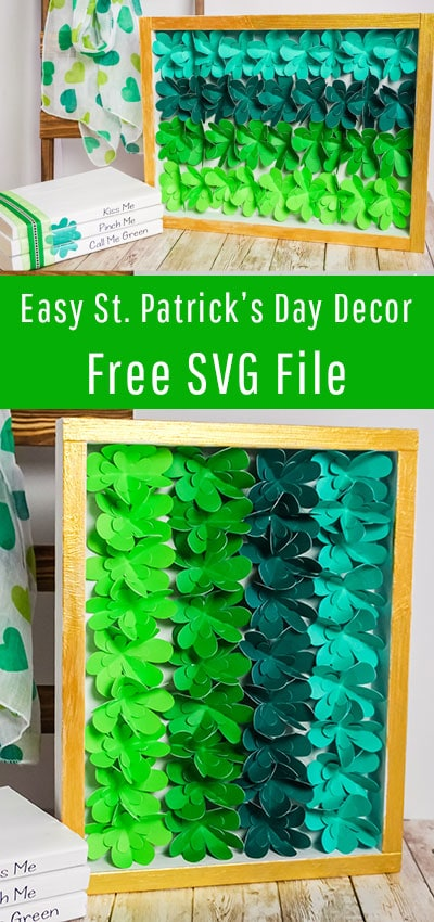 DIY St. Patrick's Day Decor - Easy Ombre Shadow Box. Easy to make and comes with a FREE SVG file. Perfect decor for a mantle and bring some Irish green into your home. #freesvg #stpatricksdaydecor #stpatricksdaycraft #cricutmade #cricut #cricutmaker #cricutcreated #cricut #cricutmade #cricutexploreair #diy #silhouettecameo #handmade #cricutcrafts #svg #svgfiles #cricutcreations #silhouette #craft #cricutexplore #crafty #svgfile