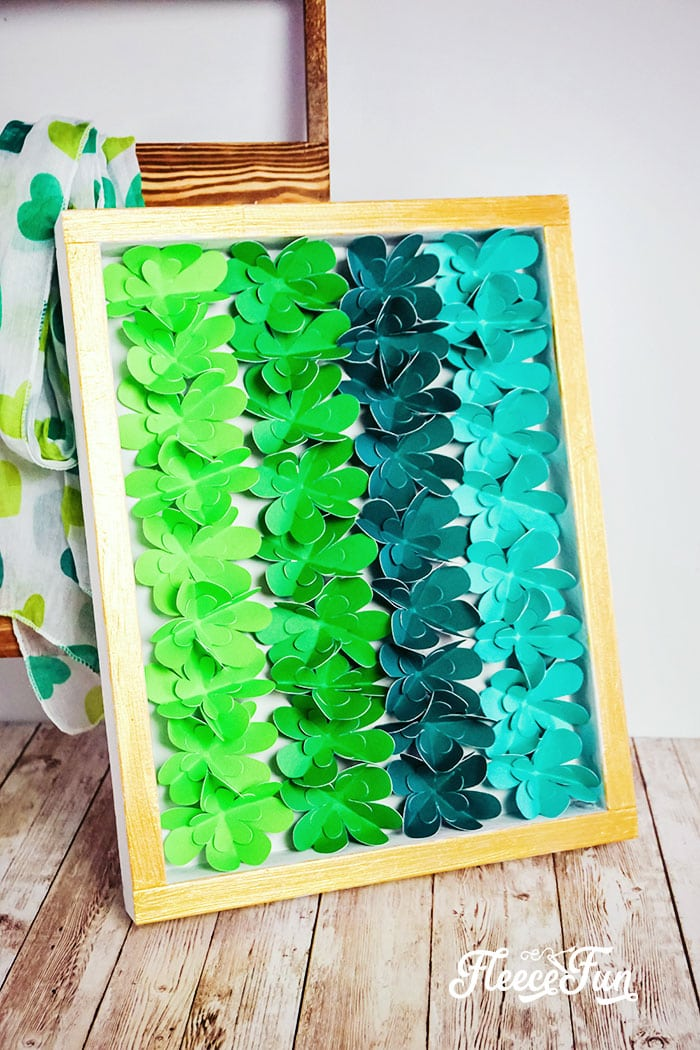 DIY St. Patrick's Day Decor - Easy Ombre Shadow Box. Easy to make and comes with a FREE SVG file. Perfect decor for a mantle and bring some Irish green into your home.