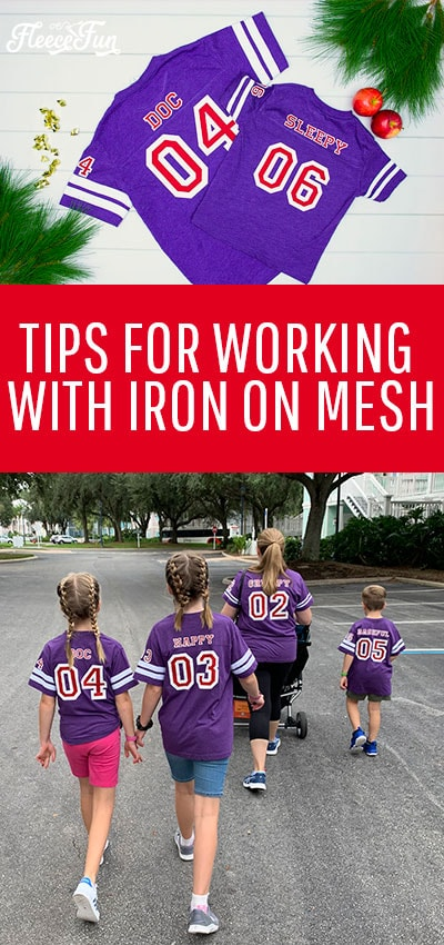 """Learn the tips for working with Iron on Mesh! This fun product gives a cute """"Sports Jersey"""" look, but has a few tricky things to watch out for. #cricutcreated #disneytshirtideas #cricutmade #HTV"""