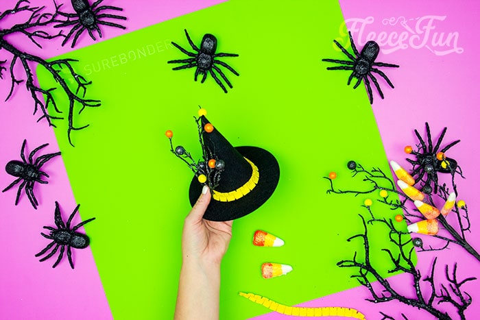 addin other decor to the witch hat. This DIY Mini Witch Hat is no sew and comes with a free PDF pattern and SVG template to make it a breeze! 3 mini sizes so you can make the perfect hat!