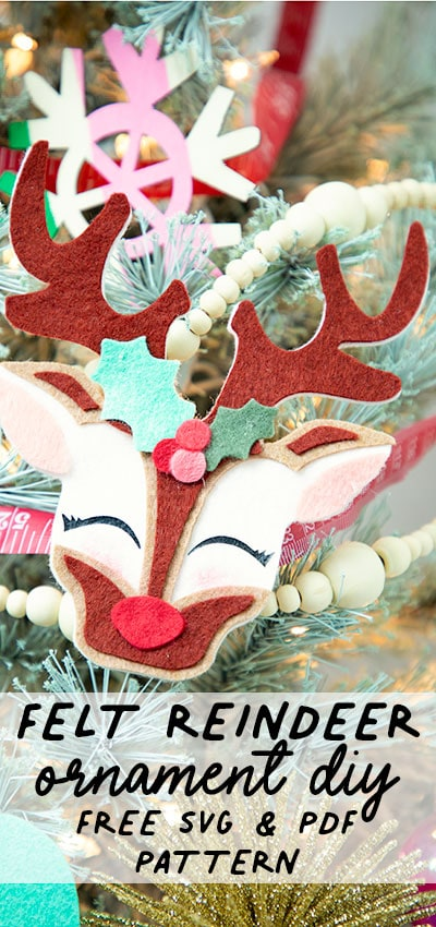 You can make this adorable Reindeer!! Just grab some felt and some glue - no sewing required. Perfect Handmade ornament to add to your tree or give to a loved one. #treedecorations #holidaycrafts #handmadeornaments #christmascraft #christmasdiy #christmasornament #christmasornaments #christmasdecoration #christmasdecorations #handmadechristmasdecoration