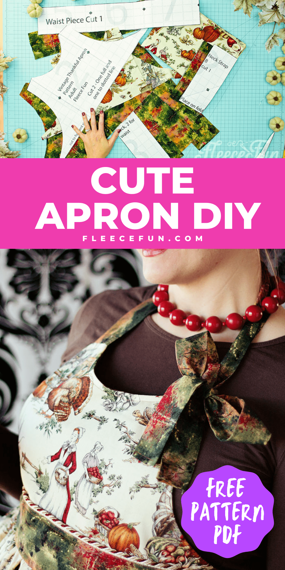 This Free apron pattern and tutorial includeas a pdf pattern and video! Make a vintage style apron that is chic.