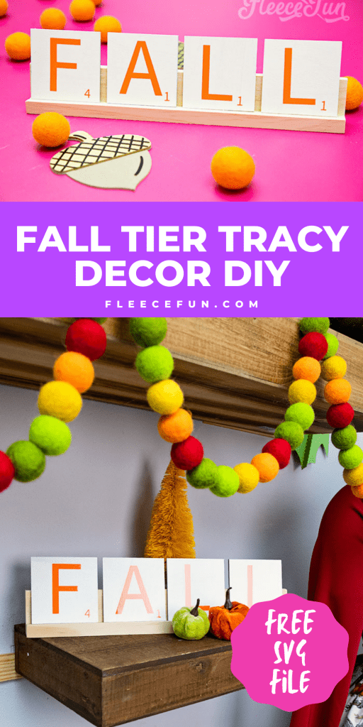 This Fall Tier Tray Décor (free SVG) is fun and fast to make. al it takes is s few simple materials and this autumn craft is ready to go. The giant scrabble tiles are simple and elegant.