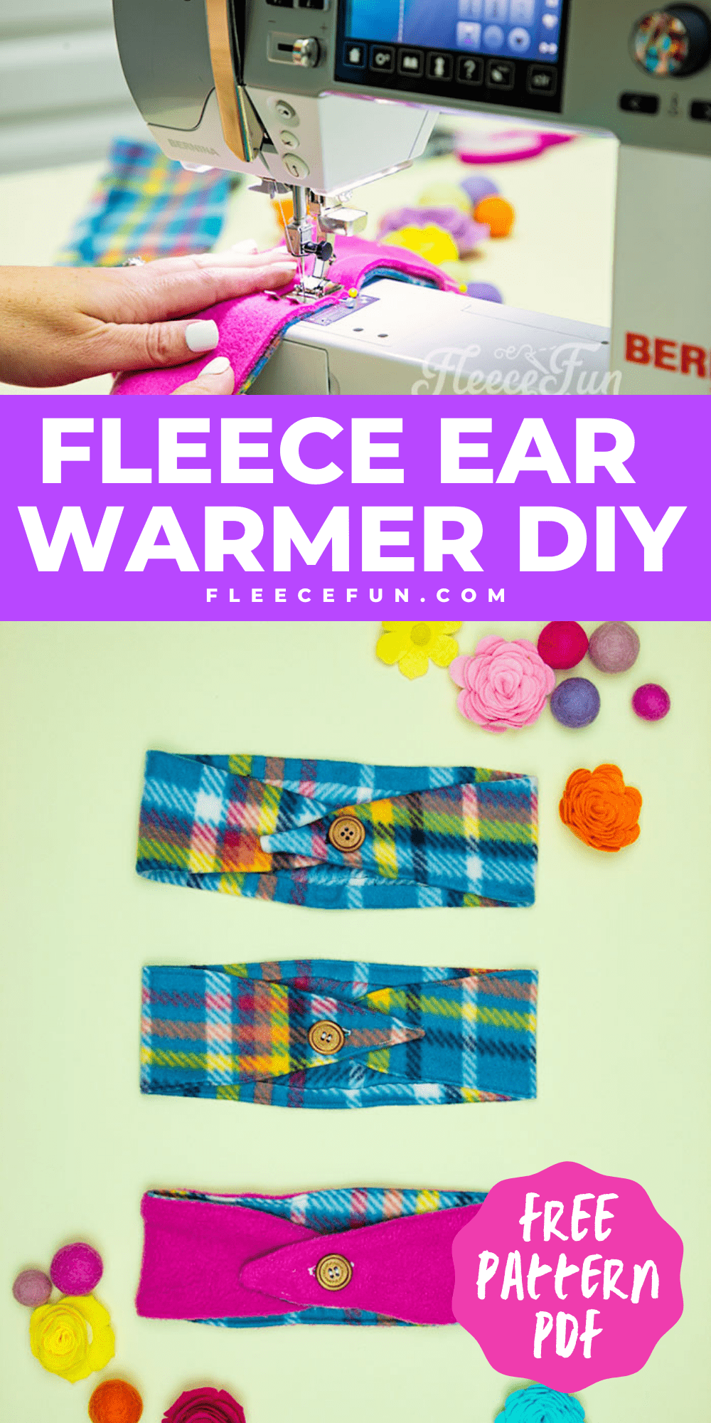 This Fleece Headband Ear Warmer Pattern (Free) is an easy sewing project. The DIY can also be a no sew fleece project! Sizes baby to adult. This Fleece Headband Pattern Ear Warmer looks cute and warm. Really simple instructions and there's a video tutorial to walk me through it - sweet! Great fleece sewing project. Perfect Ear warmer for winter.
