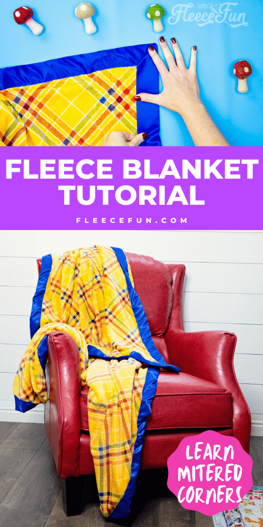 Learn how to make a fleece blanket with satin binding! This tutorial is a perfect beginning sewing project! Learn how to make mitered corners.
