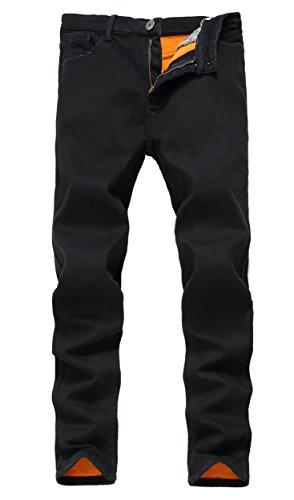 Omoone Mens Strech Skinny Slim Fit Fleece Lined Ripped Jeans Pants