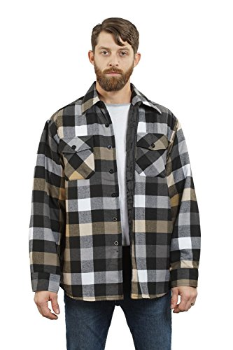 Nanquan Men Long Sleeve Plaid Lapel Contrast Button Down Shirt Top