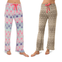 684fa29e734 Totally Pink Women s Warm and Cozy Plush Pajama Bottoms Lounge Pants Signal  and Two Pack