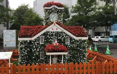The Clock Tower of flowers in Odori Koen Park, Sapporo