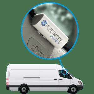 White van with FleetMode SmartDot installed