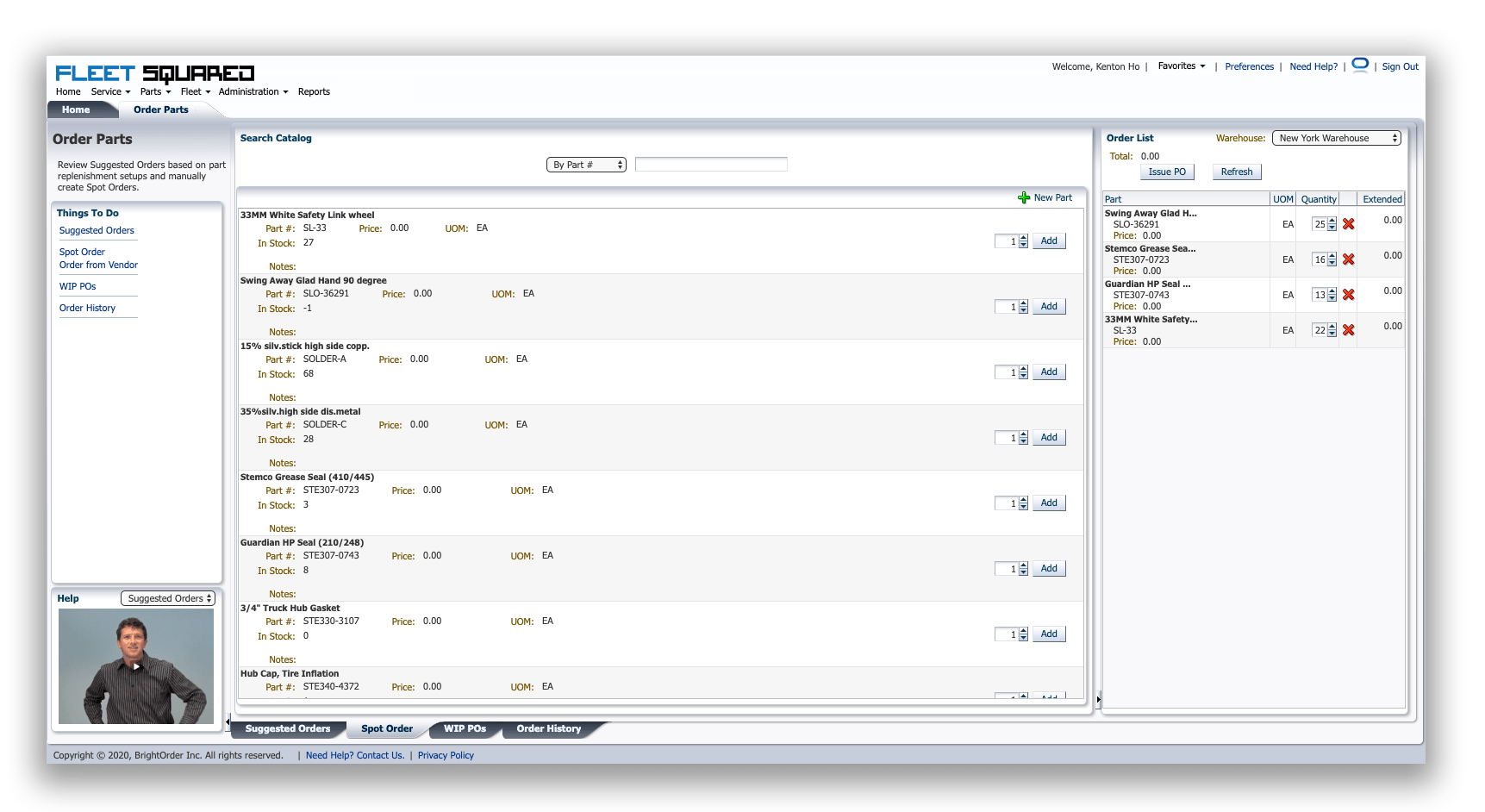 Parts Ordering Screen
