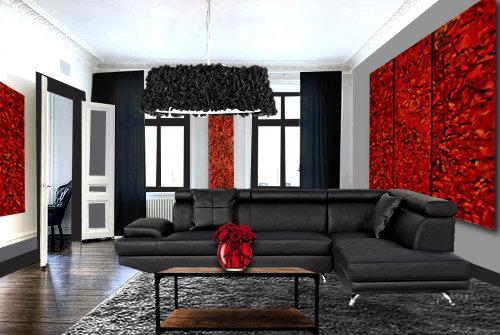 Un salon moderne en rouge et noir  Floriane Lemari
