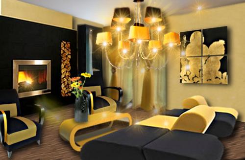 Un salon chic en jaune et noir  Floriane Lemari