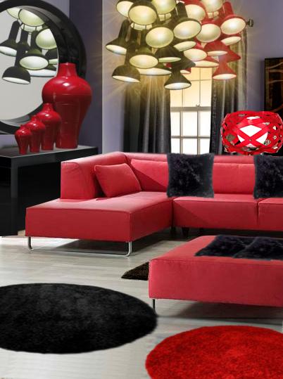 un salon lumineux en rouge et noir