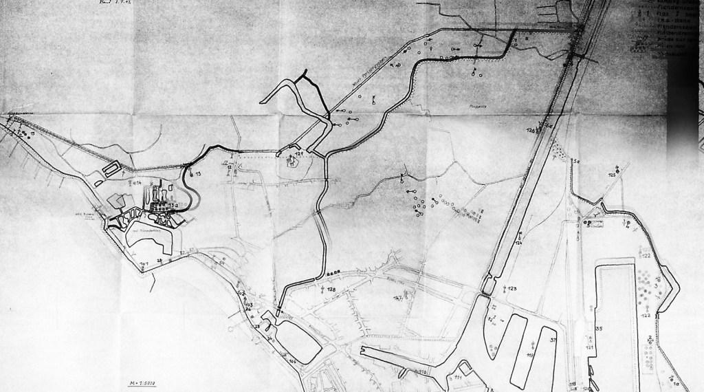 Overzichtskaart met de verdedigingspunten feb. 1942