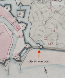dijk en voorpost 1809 engelse kaart
