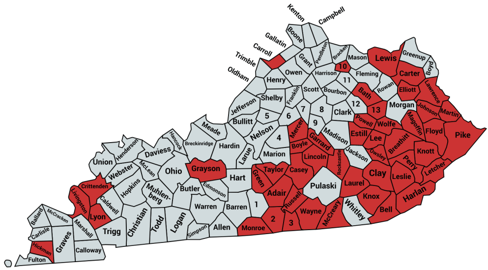 KENTUCKY MAP OF TARGETED COUNTIES