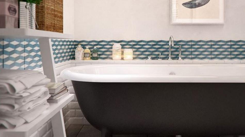 Frise salle de bain autocollante  fleur de passion