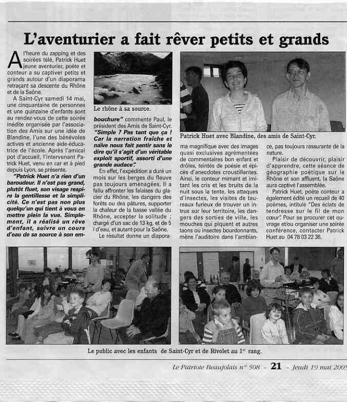 Le Patriote Beaujolais, conférence sur le Rhône à St Cyr