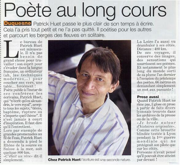 Magazine Lyon Citoyen - Article sur Patrick Huet écrivain et fleuve-trotteur