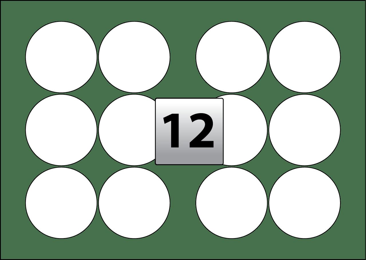 12 Round Labels Per Sra3 Sheet 88 Mm Diameter