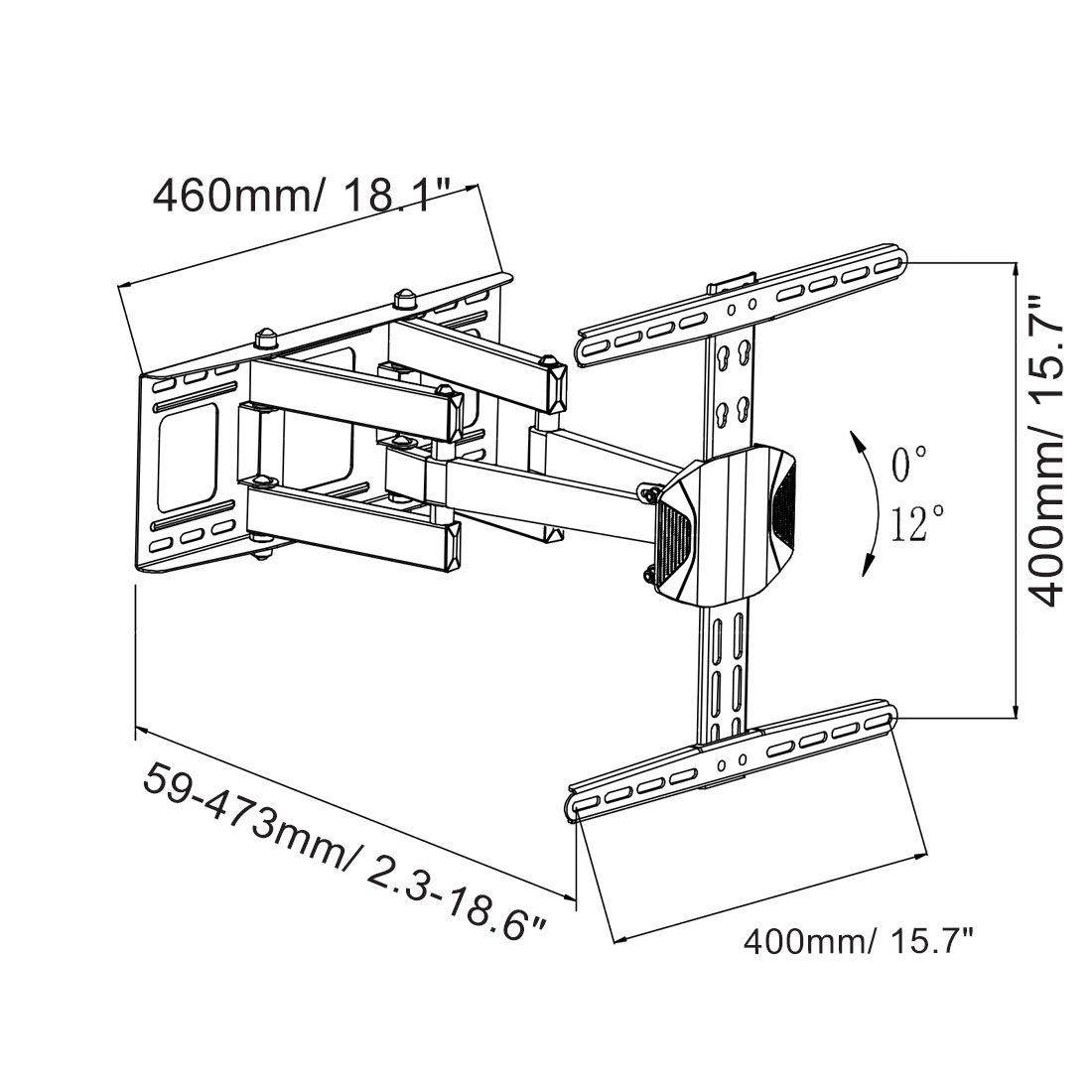 "A18 Full Motion TV Mount for 26""–55"""